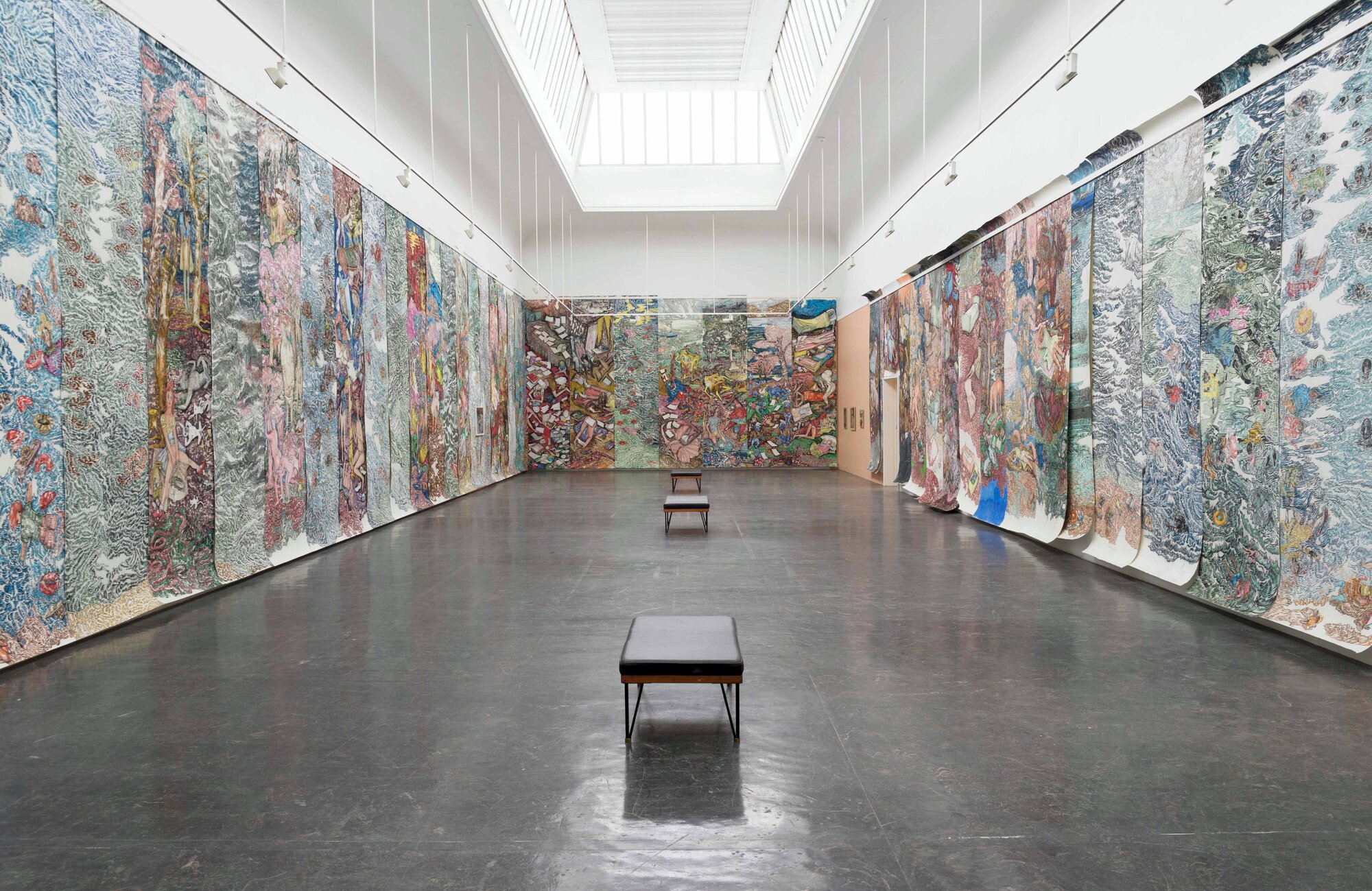 You Are Something Else (2017) by Vanessa Baird.  Soft pastels on printing paper, each 400 x 124 cm (157,48 x 48,81 inches) Installation view from Kunstnernes Hus. Photo courtesy of: Kristina Leithe / Kunstnernes Hus