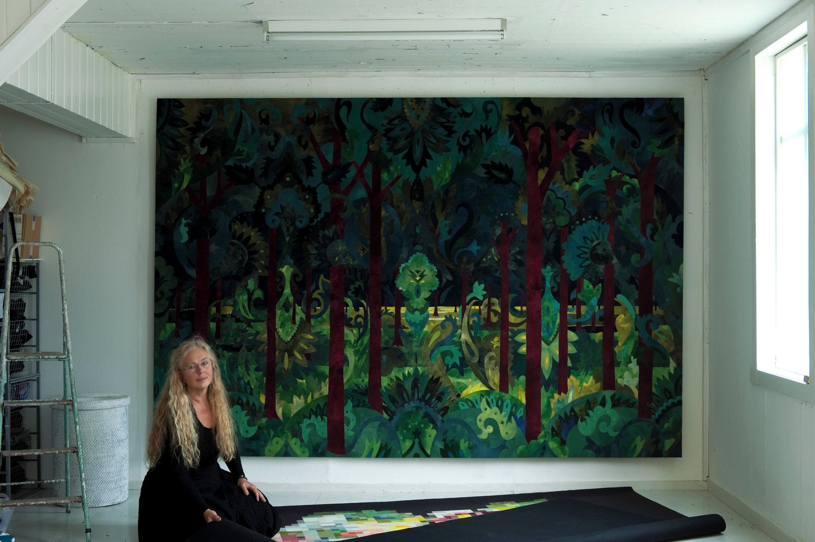 """The Forest"" and Inger Johanne Rasmussen in her studio at Hovedøya."