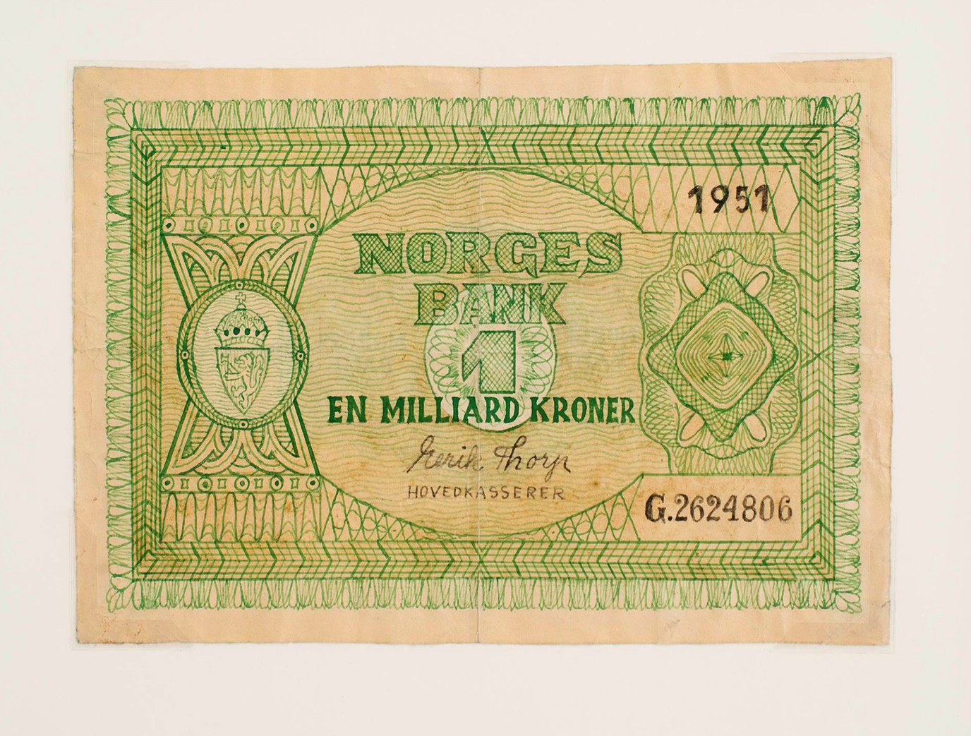 The Selbu money: One Billion Kroner. Fake drawn bank notes from the 1950´s kept at the Norwegian National Museum of Justice.