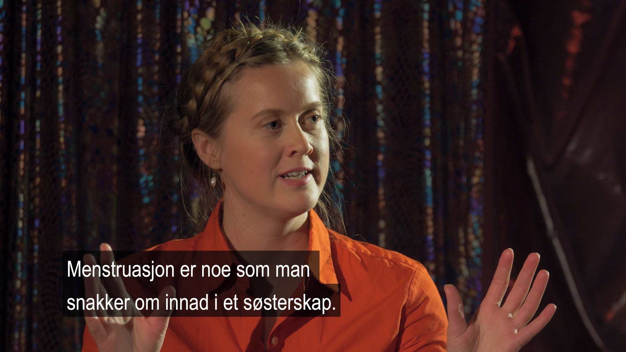 "Ane Barstad Solvang in ""Talkshow"" a film about menstruation (2020)."